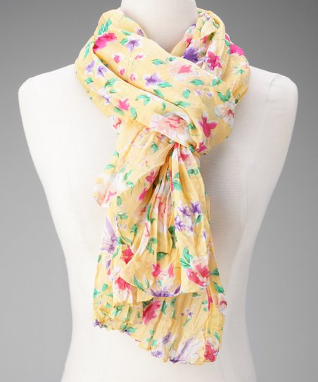 Yellow Floral Crepe Scarf