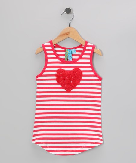 Watermelon Stripe Heart Top - Girls