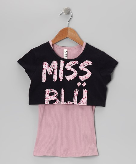 Marine & Pink 'Miss Blü' Tunic - Girls
