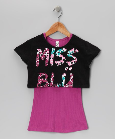 Black 'Miss Blü' Tank & Cropped Tee - Girls