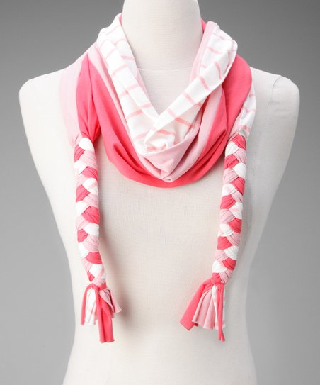 Coral Stripe Braided Scarf
