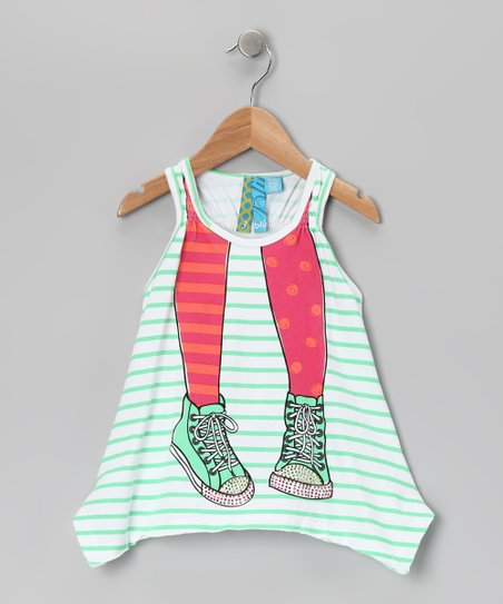 Spring Green Stripe Sneaker Top - Toddler & Girls