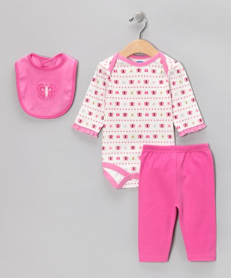 Fuchsia Butterfly Bib Set