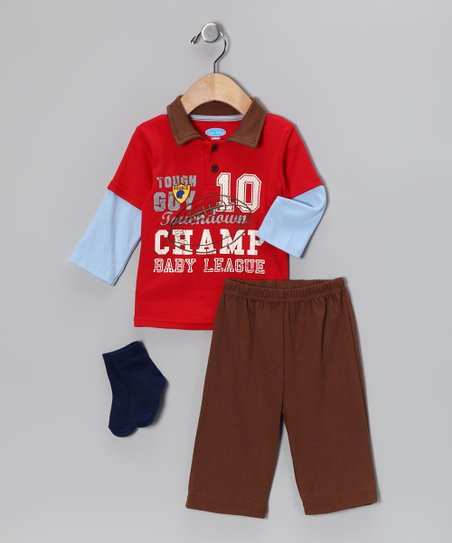 Red 'Champ' Layered Polo Set