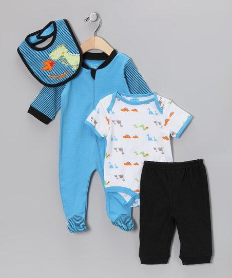 Blue & Black Dinosaur Layette Set
