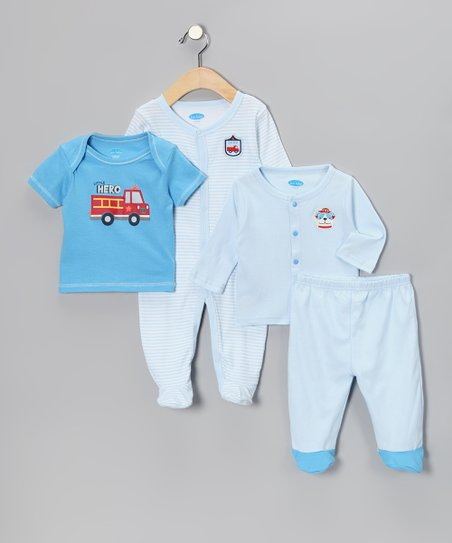 Pastel Blue Fire Truck Layette Set