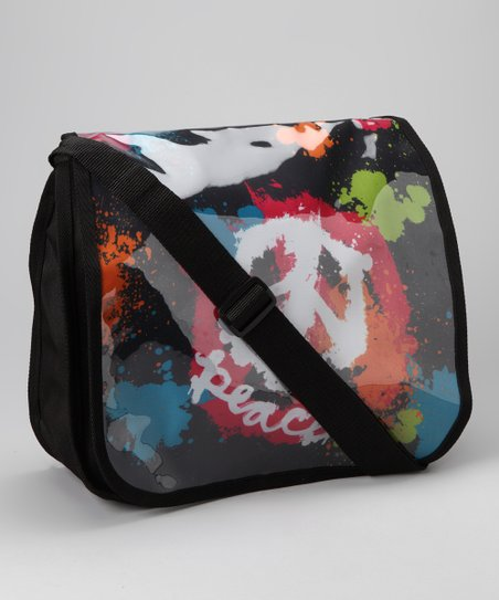 Black Spray Paint Peace Messenger Bag
