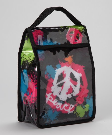 Black & Pink Spray Paint Peace Sign Lunch Tote
