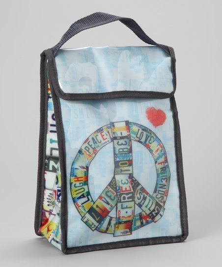 Light Blue Peace License Plate Lunch Tote