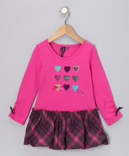 Raspberry Rose Plaid Dress - Toddler & Girls