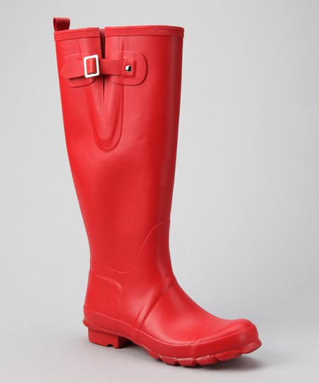 Red Charlotte Tall Fisherman Rain Boot