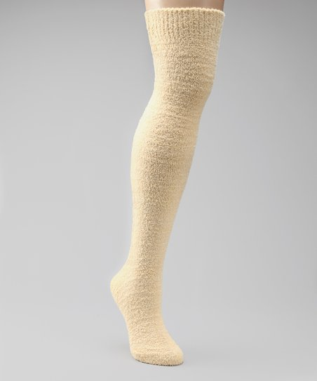 Cream Chenille Over-the-Knee Socks