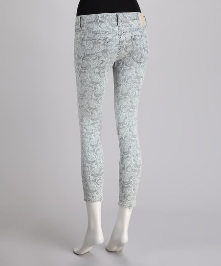driftWood Blue Floral Cropped Skinny Jeans
