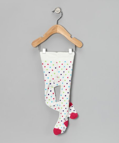 White Polka Dots Tights - Infant