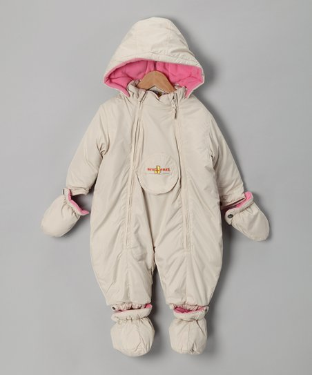 Cream & Pink Double-Zipper Snowsuit - Infant