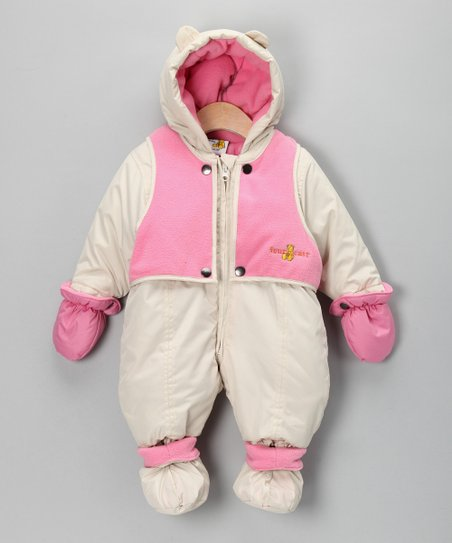 Cream & Pastel Pink Vest Snowsuit - Infant