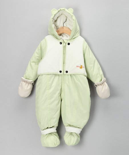 Green & Cream Vest Snowsuit - Infant