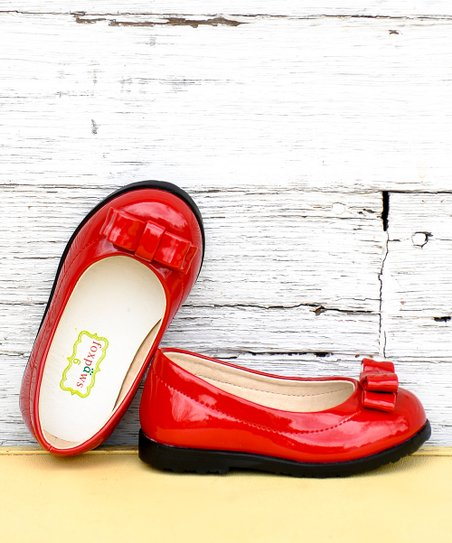 Red Patent Bow Ballet Flat