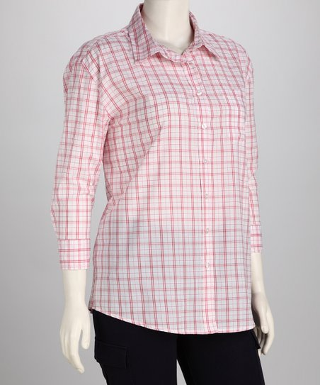 Red Lana Plaid Button-Up