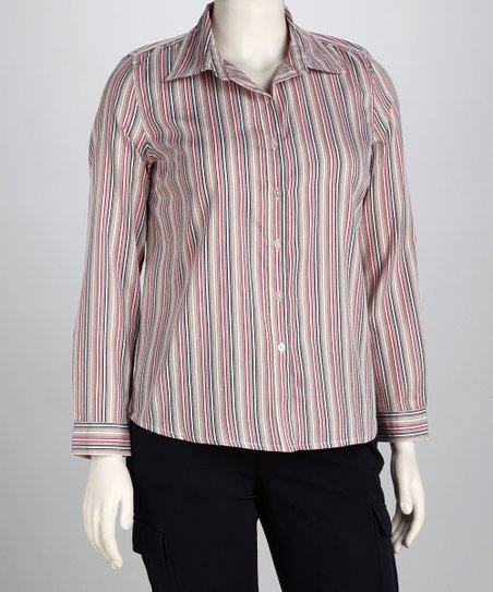 Red Sheila Woven Strip Button-Up