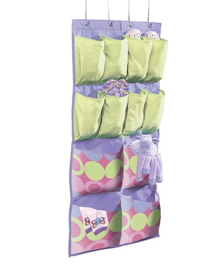Purple & Yellow Dot 12-Pocket Hanging Organizer