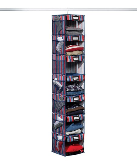 Blue & Red Stripe Seven-Shelf Hanging Organizer