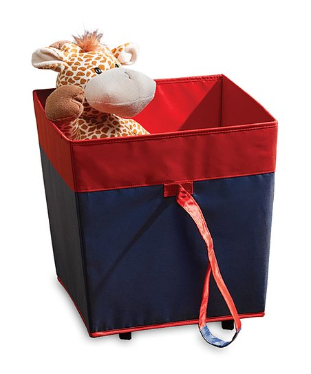 Navy & Red Rolling Toy Storage Bin