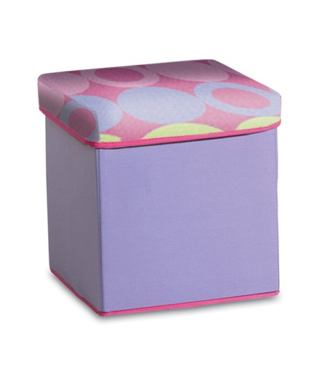 Purple &amp; Yellow Dot Collapsible Storage Ottoman