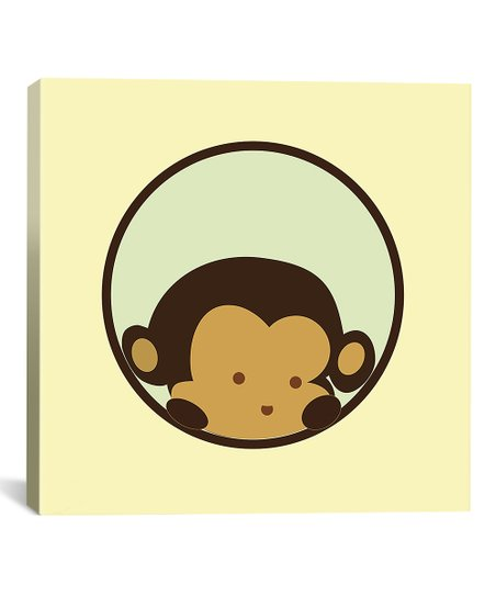 Yellow Monkey Peek Gallery-Wrapped Canvas