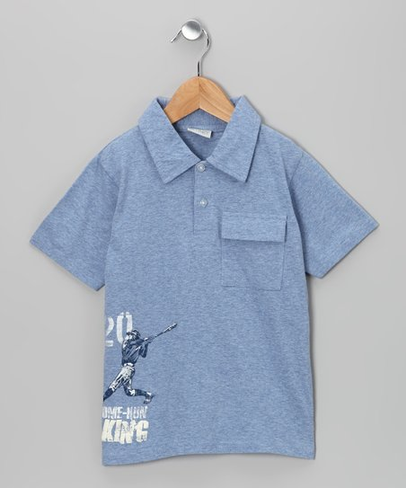 Heather Blue 'Home Run King' Polo - Infant, Toddler & Boys
