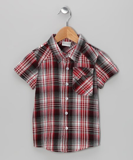 iNTAKT Red & Black Plaid Button-Up - Infant, Toddler & Boys
