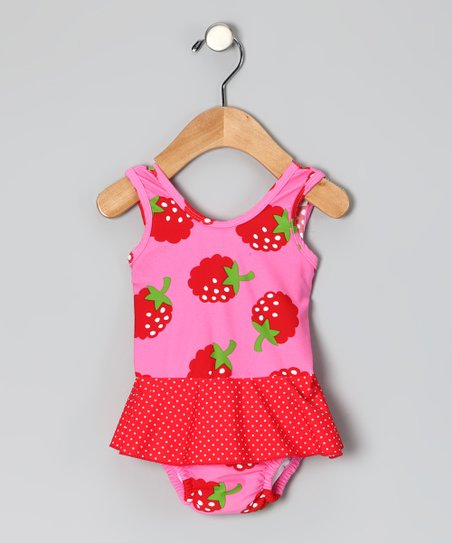 Red Strawberry Skirted One-Piece - Infant & Toddler