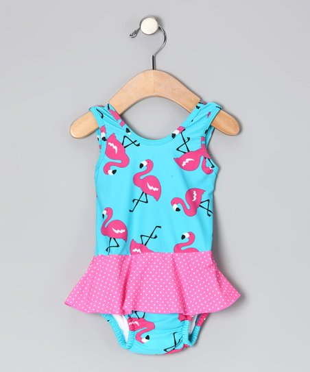 Aqua Flamingo Skirted One-Piece - Infant & Toddler