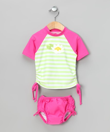 Hot Pink Lotus Rashguard & Swim Diaper - Infant & Toddler