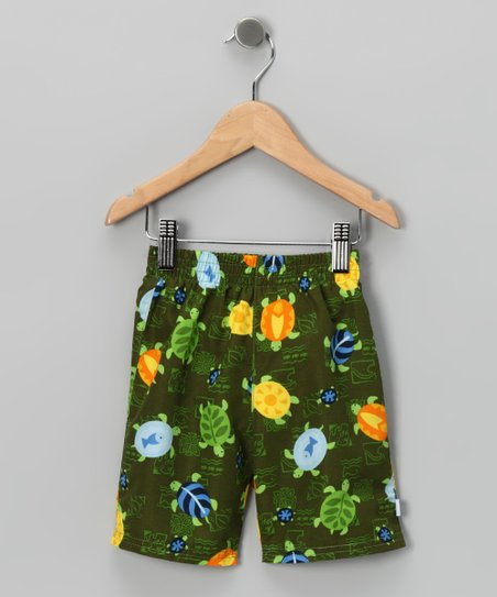Olive Turtle Swim Shorts - Infant