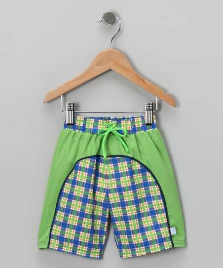 Periwinkle Plaid Boardshorts - Infant