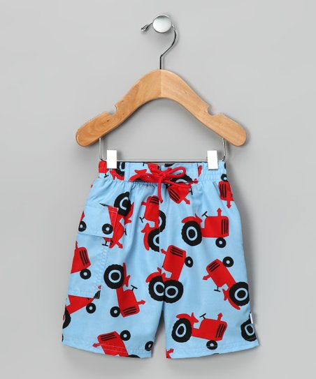 Blue & Red Tractor Swim Trunks - Infant
