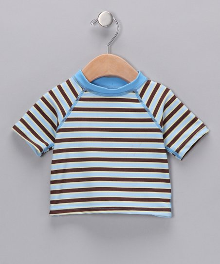 Light Blue & Brown Stripe Rashguard - Infant