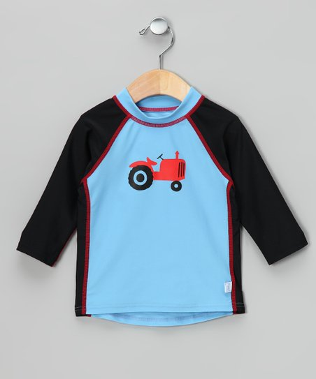 Light Blue Tractor Rashguard - Infant
