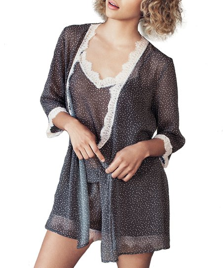 Charcoal Gray &amp; Shell Pink Polka Dot Lace Bardot Robe - Women