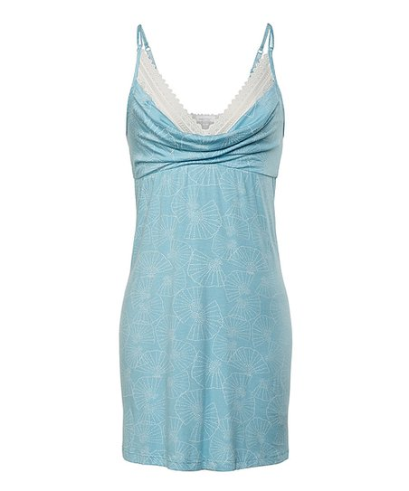 Sky & White Lace-Trim Chemise - Women