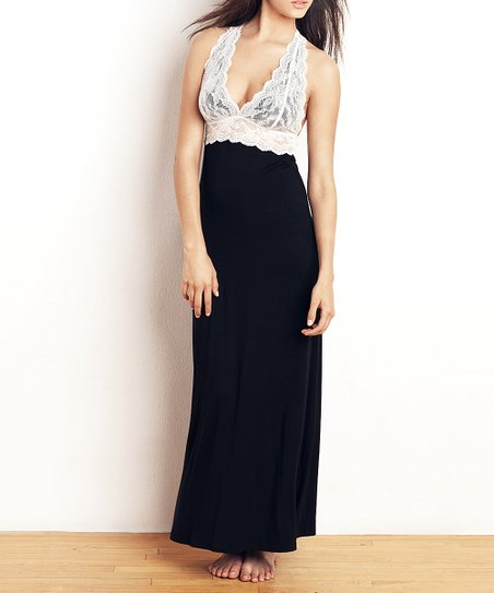 Black & White Lace Scalloped Back Nightgown