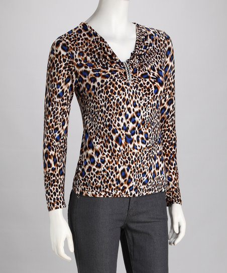 Brown & Blue Leopard V-Neck Long-Sleeve Top