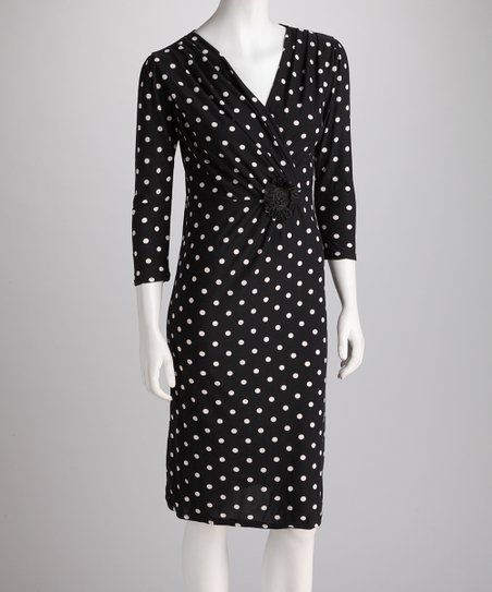 Black &amp; White Polka Dot Surplice Dress