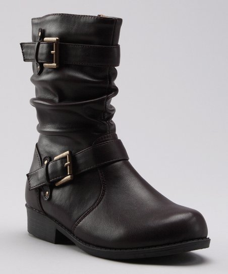 Brown Ruched Buckle Boot