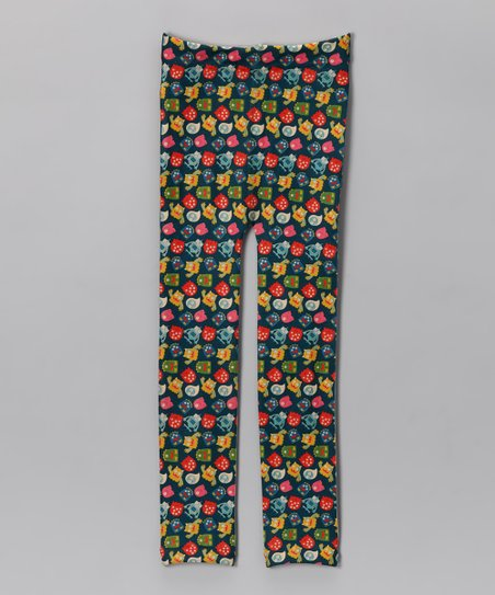 lil' leggin's Blue Floral Fleece Leggings - Girls