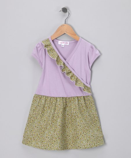 Lavender Polka Dot Surplice Dress - Toddler & Girls