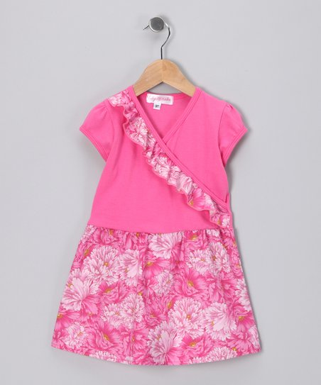 Pink Floral Surplice Dress - Toddler & Girls