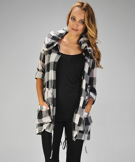 Black Plaid Drawstring Pocket Tunic