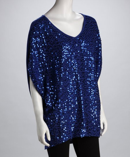 Royal Blue Sequin V-Neck Top